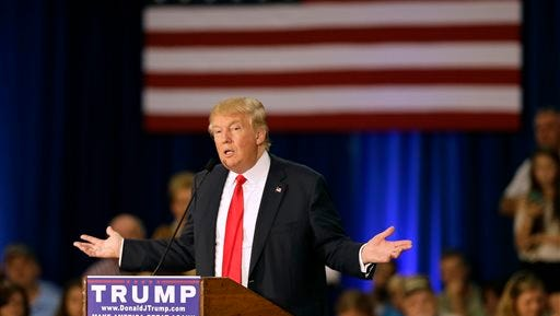 Republican presidential candidate Donald Trump speaks during a rally Aug. 25 in Dubuque.