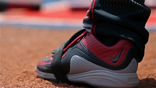 A detailed view of the Nike cleats worn by Arizona Diamondbacks' Paul Goldschmidt during a baseball game against the Cincinnati Reds, Sunday, July 24, 2016, in Cincinnati. The Diamondbacks won 9-8.