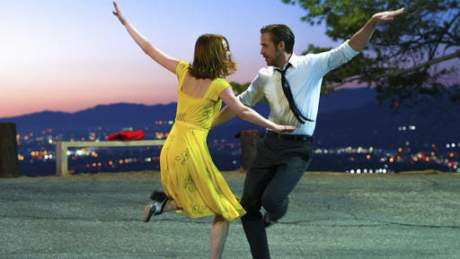 "Ryan Gosling and Emma Stone star in ""La La Land,"" a candy-colored, old-fashioned musical ode to Tinseltown."