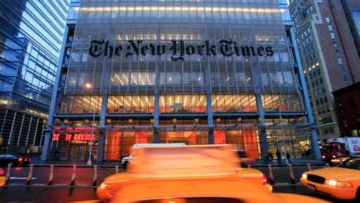 """FILE - In this April 21, 2009 file photo, The New York Times headquarters is shown in New York.  The New York Times will broadcast a television commercial called """"The Truth Is Hard"""" Sunday, Feb. 26, 2017 during the Academy Awards, the same week the company and other news organizations were blocked from joining an informal, on-the-record White House press briefing Friday."""
