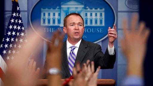 Budget Director Mick Mulvaney speaks to reporters at the White House in Washington. President Donald Trump unveils a proposed budget on March 16 that will sharply test Republicans' ability to keep longstanding promises to beef up the military by making politically painful cuts to a lengthy list of popular domestic programs. (AP Photo/Manuel Balce Ceneta, File)