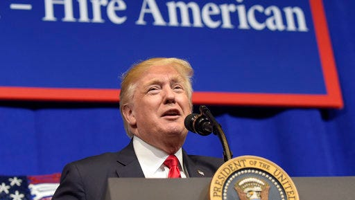 President Donald Trump speaks at tool manufacturer Snap-on Inc. in Kenosha, Wis., Tuesday, April 18, 2017. Trump visited the headquarters of tool manufacturer Snap-on Inc., and will later sign a an executive order that seeks to make changes to a visa program that brings in high-skilled workers.