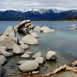 Lake Tahoe's famously clear waters as seen from Sand Harbor. As the annual Lake Tahoe Summit convenes Monday, debate is mounting over federal funding for restoration projects at the lake.