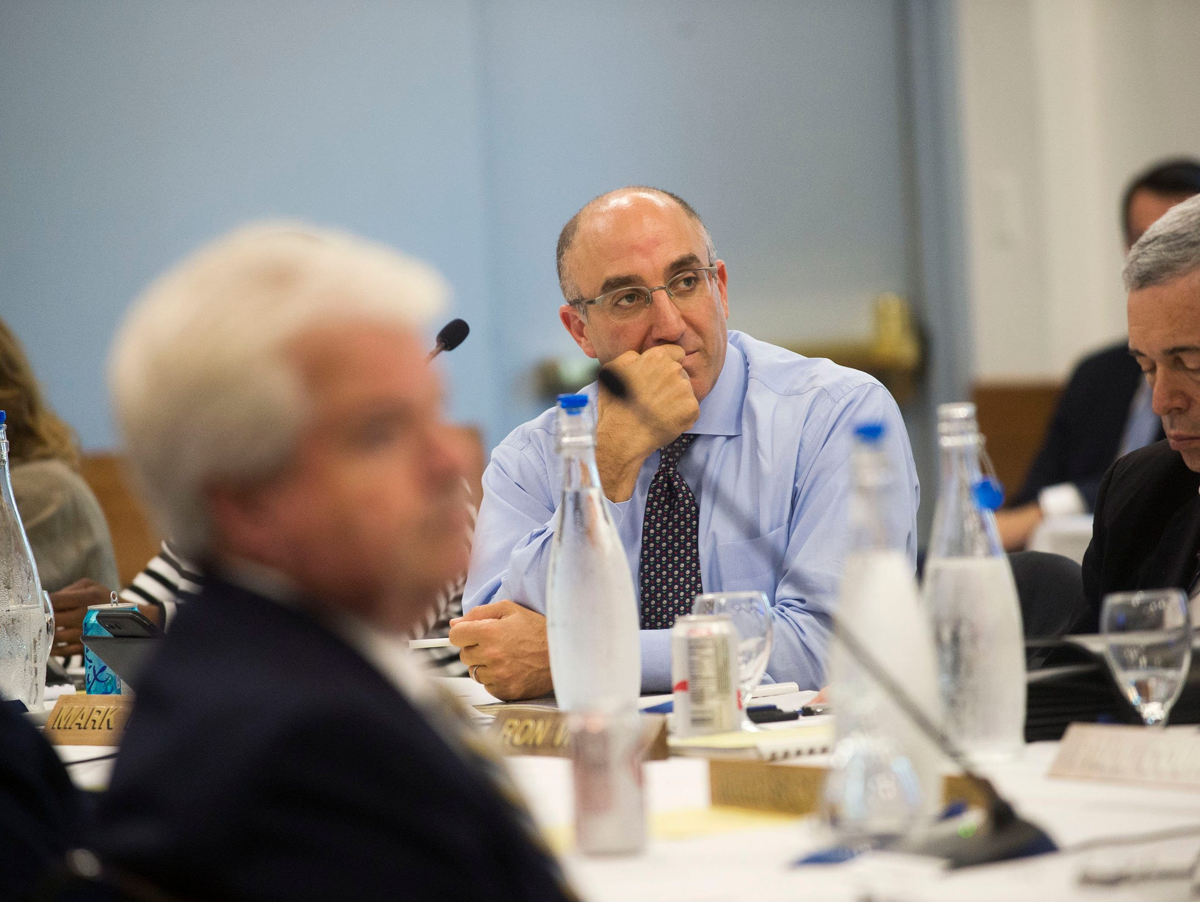 University of Michigan Regent Mark Bernstein listens during the Board of Regents meeting on Thursday, June 15, 2017, at the Michigan Union in Ann Arbor.