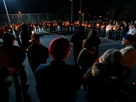 Many gathered for a vigil celebrating the life of Zech Miles at Meador Park in Springfield on Feb. 2, 2017