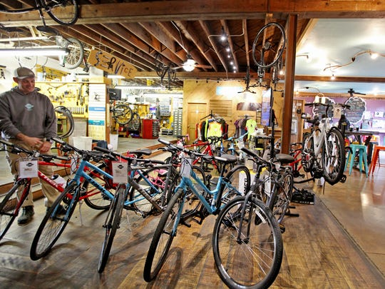Shenandoah Bicycle Company was formed in 2000 and chose to open up shop in downtown Harrisonburg in an old storage building. Owners Thomas Jenkins and Tim Richardson did much of the restructuring of the building themselves from utilizing the exposed beams to hang bikes from the ceiling to slapping a coat of bright yellow paint on the concrete floor.