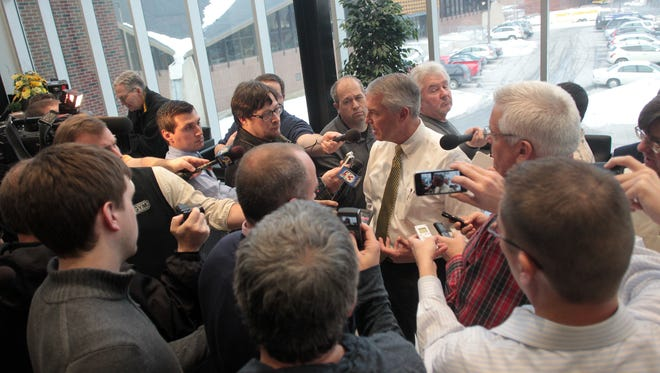 Iowa athletic director Gary Barta speaks to media during a press conference at the Football Operations Center on Wednesday, Jan. 14, 2015.