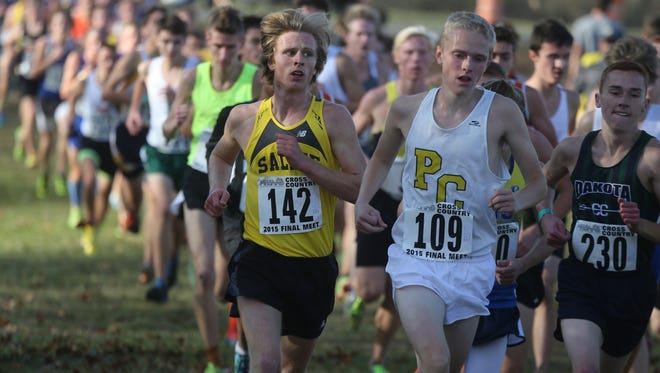 Boys run in the Division One MSSAA high school cross country championships  Saturday, November 7, 2015 at Michigan International Speedway in Brooklyn, Michigan.