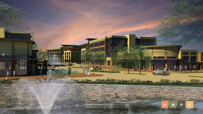 A rendering of Fountains at the Gateway.  Phase one of Fountains at Gateway is under construction and includes a four-story, 100,000-square-foot office building and the 11,000-square-foot retail building. The office building will be completed this summer and the retail building by the end of the year.