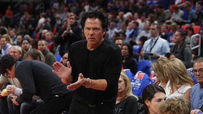 Detroit Pistons owner Tom Gores claps during introductions before the Pistons' home opener against the Charlotte Hornets in Detroit, Wednesday, Oct. 18, 2017.