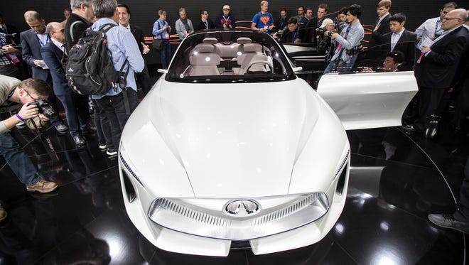 The Infiniti Q Inspiration concept was revealed during the 2018 North American International Auto Show held at Cobo Center in downtown Detroit on Monday, Jan. 15, 2018.