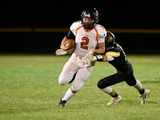 Hasbrouck Heights at Cresskill on Thursday, September 28, 2017.  HH #2  Nico Facchini runs with the ball in the third quarter.