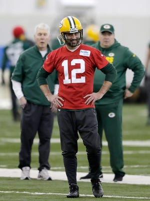Green Bay Packers quarterback Aaron Rodgers (12) watches during practice at the Don Hutson Center on Wednesday, December 13, 2017 in Ashwaubenon, Wis.