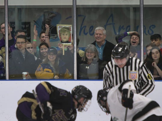 Monroe fans cheer during the GMC Cup final against Colonia on Friday, Feb. 16, 2018.