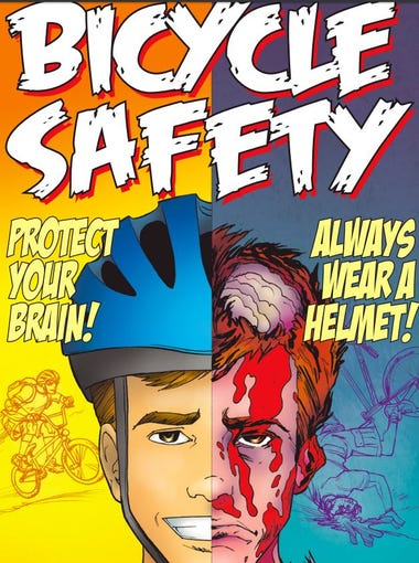 Bike safety for kids is dead serious in Phoenix. Emphasis on dead. Or at least maimed. Here are several frames from graphic novels distributed by Phoenix that some say are too disturbing for children.