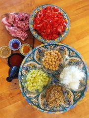 Lamb, vegetables, spices, lentils and chickpeas are