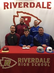 Riverdale baseball standout Peyton Henderson recently signed to play with Brescia College. Seated (l-r) are Riverdale assistant coach Kerrick Cron, Peyton Henderson, Rockvale Middle School Coach James Carson. Standing (l-r) are Riverdale head coach Barry Messer, and Brescia head coach Andrew Dickson.