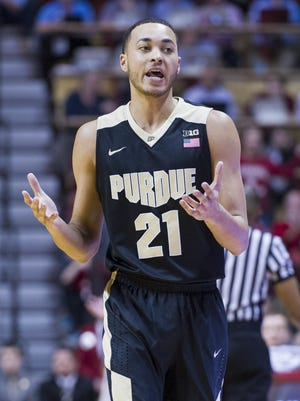 Purdue Boilermakers guard Kendall Stephens (21) reacts to being called for a foul during an NCAA men's college basketball game at Indiana University's Assembly Hall in Bloomington, Ind., Saturday, Feb. 20, 2016. IU won, 77-73.
