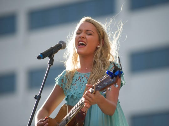 Emily Ann Roberts, 2015's CTE Goes Live winner, opens with a performance before the 2016 show in Market Square on Friday, May 6, 2016.