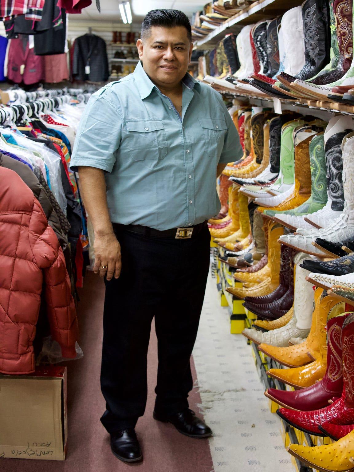 Alejandro Rivera inside Rivera Western Wear on S. Cesar