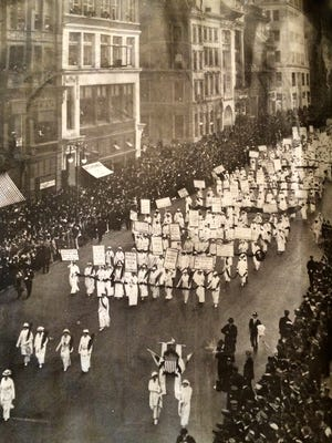 A suffrage parade on New York's 5th Avenue in 1913.