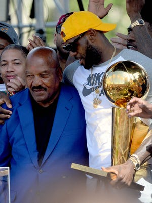 LeBron James with another Cleveland icon, Browns great Jim Brown, during the Cavs' NBA Championship parade in 2016.