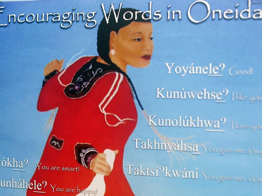 Detail of a poster of Oneida phrases on a classroom wall at Pulaski High School.