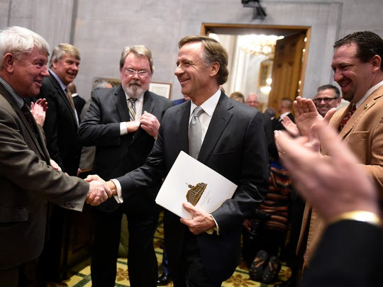 Gov. Bill Haslam arrives for the annual State of the State address Monday, Feb. 1, 2016, at the state Capitol in Nashville.