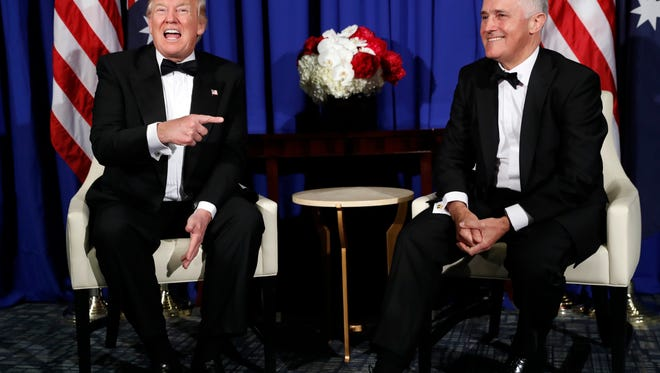 President Trump meets with Australian Prime Minister Malcolm Turnbull aboard the USS Intrepid, a decommissioned aircraft carrier docked in the Hudson River in New York.