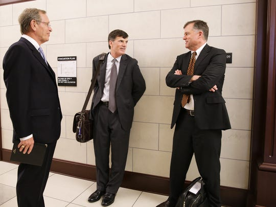 Gathered at the Duval County Courthouse in Florida for a Feb. 3 hearing are, from left,  Hugh Durden, chairman of the Alfred I. duPont Testamentary Trust; Steven Sparks, senior vice president, general counsel and corporate secretary for the Nemours Foundation; and Matt Lintner, director of the Delaware Department of Justice Fraud & Consumer Protection Division.