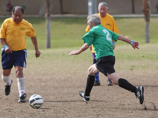 Gabriel Basabe shoots in a 75-and over-soccer match in Palm Desert, February 8, 2017.