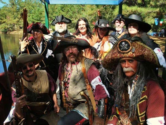 Jennifer Vallas and her pirate crew at the Louisiana