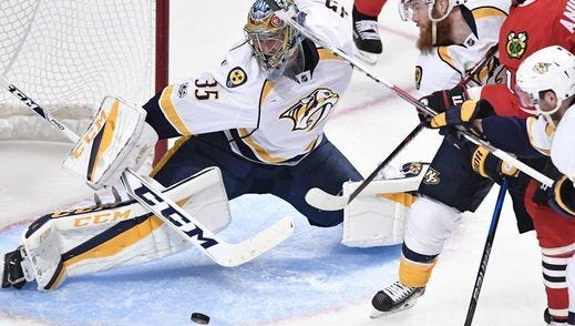 Game 1 of the Predators-Blackhawks playoffs series Thursday night earned a 3.8 local television rating.