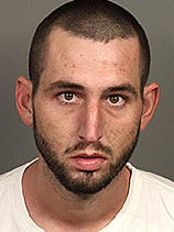 Marshall Karlquist, 27, was booked into the Indio County Jail at about 5 p.m. on suspicion of a series of residential burglaries, committing felonies while out on bailand violating his probation.
