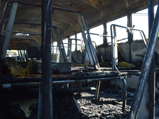 The inside of the South Carolina bus that caught fire Tuesday morning.