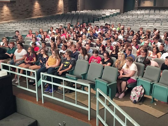 Freshmen students gather for an assembly on the first day of school at Port Clinton High School.