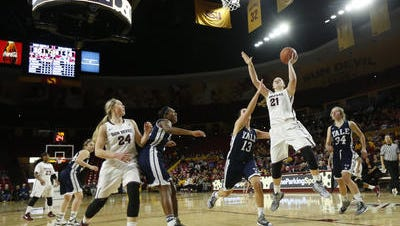 Sophomore forward Sophie Brunner (21) leads No. 13 ASU women's basketball in scoring and rebounding.