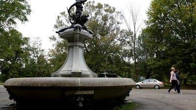 Water flows out of terrapins' mouths at Hogan's Fountain in Cherokee Park.