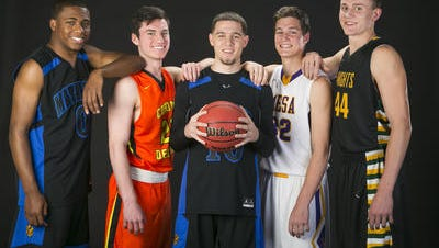 Could former Shadow Mountain All-Arizona players Michael Bibby (center) and J.J. Rhymes (far left) reunite at Grand Canyon?