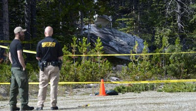 The wreckage of a small plane crash is visible from the parking lot of the Silver Crest Ski Area near Kings Hill on Tuesday afternoon. There was one confirmed fatality and at least one other occupant who was rushed to Great Falls for medical treatment.