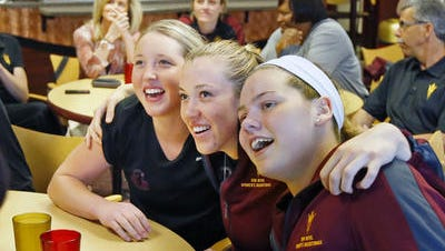 Kelsey Moos, Eliza Normen and Sophie Brunner (L-R) are among returning ASU women's basketball players in 2014-15.