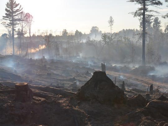 In a July 30, 2015 photo provided by the Michigan Department of Natural Resources, some of the roughly 70 acres burned by the Marquette County Road 601 fire in Humboldt Township, Mich., is seen. Crews in Michigan's Upper Peninsula are making progress in battling the wildfire that's been fueled by warm weather and strong winds.