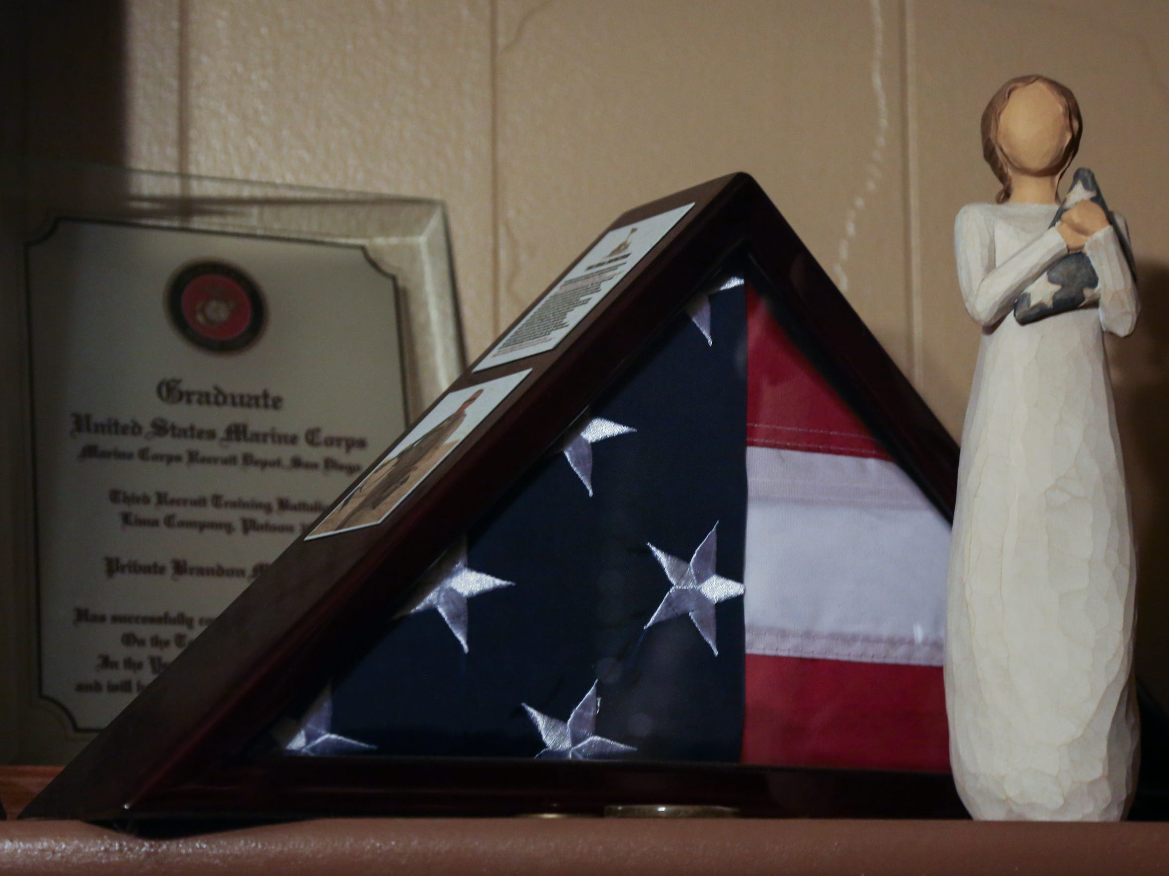 Mementos from Brandon Ketchum's time in the service