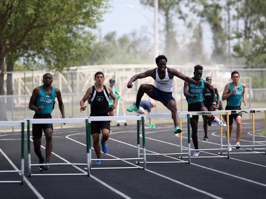 Athletes compete in the Class 3A District 12 meet at