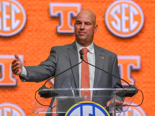 Tennessee Volunteers head coach Jeremy Pruitt addresses