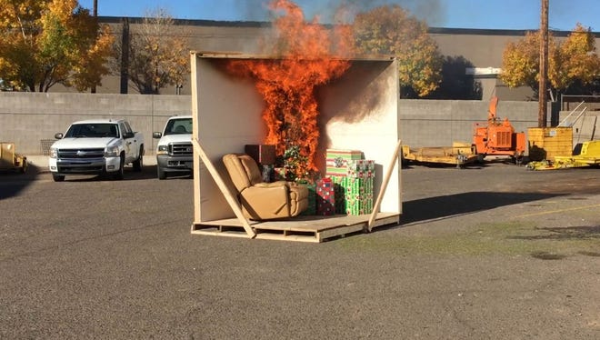 Friday's demonstration of how a dry Christmas tree can quickly go up in flames.