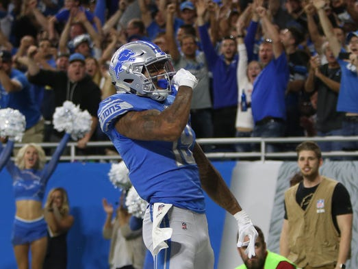 Kenny Golladay celebrates his first career touchdown