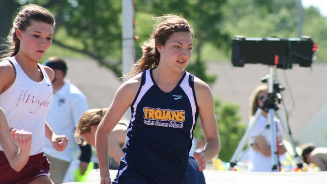 St. James' Rachael Yergensen ran a 11:16.06 in the 3,200, beating the previous Class 4A girls state meet record of 11:32.88 set by Claire Kennedy from UMS-Wright in 2011.