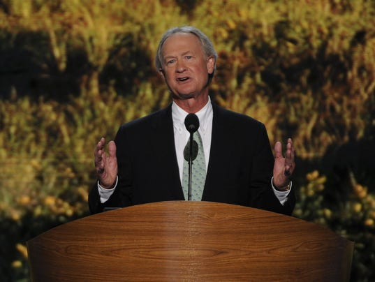 Rhode island governor lincoln chafee addresses the convention photo by