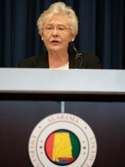 Governor Kay Ivey speaks on Sunday, Sept. 10, 2017, in Clanton, Ala., about the threat of Hurricane Irma's impact on the state of Alabama.